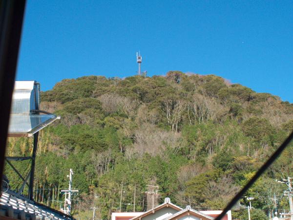 事務所(母屋側)の窓から見る裏山と離れ(作業場)ちょっと